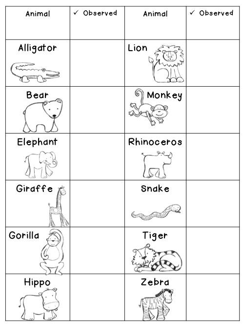 FREE Zoo Animal Checklist