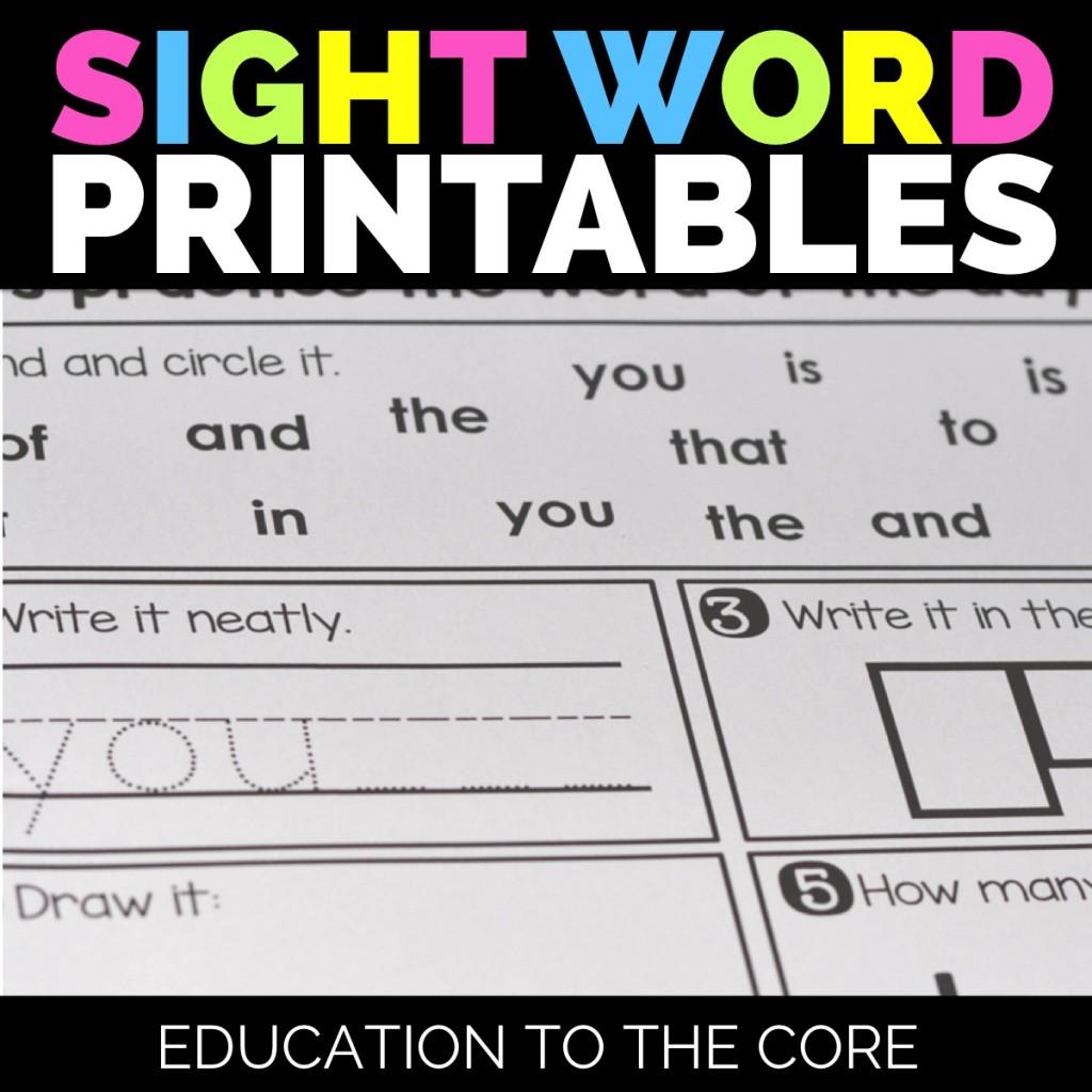 Sight Word Printables Bundle