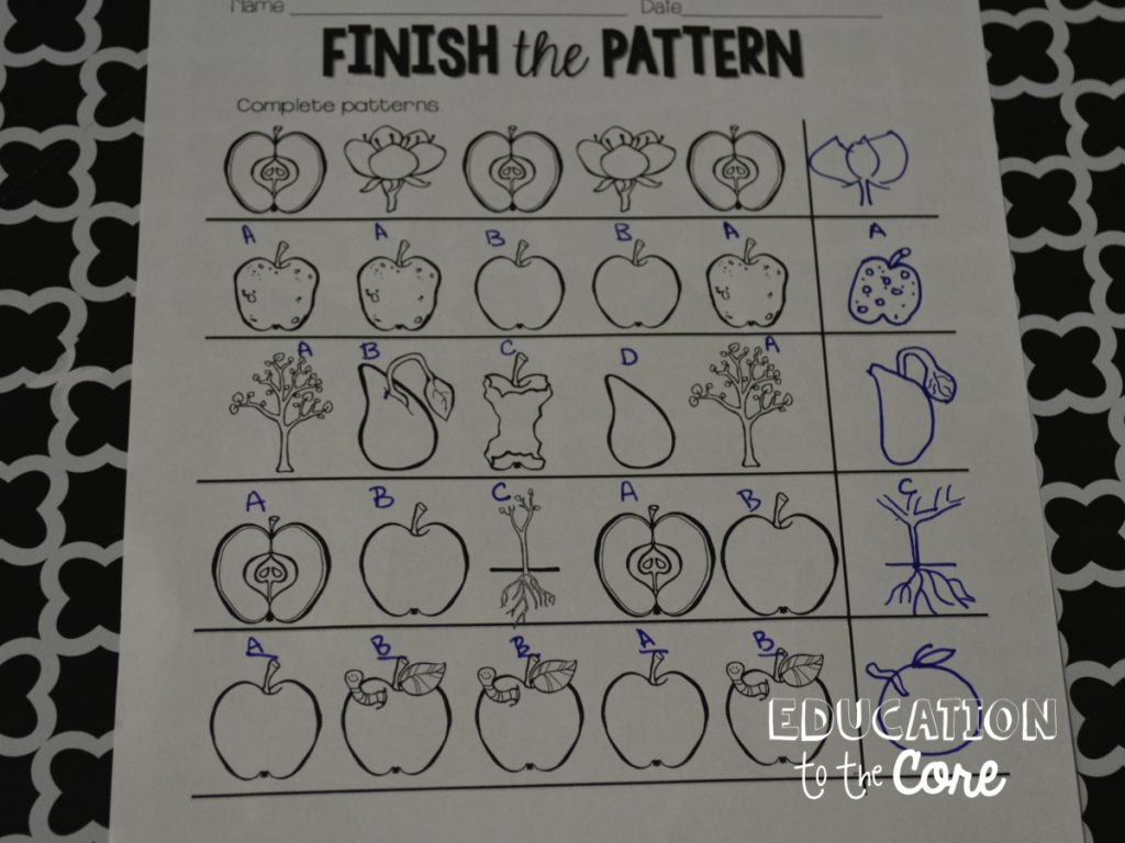 Not only did my kids have a great time finishing the patterns, I noticed a lot of them using that tier 3 vocabulary that went along with our Apple Life Cycle Unit.