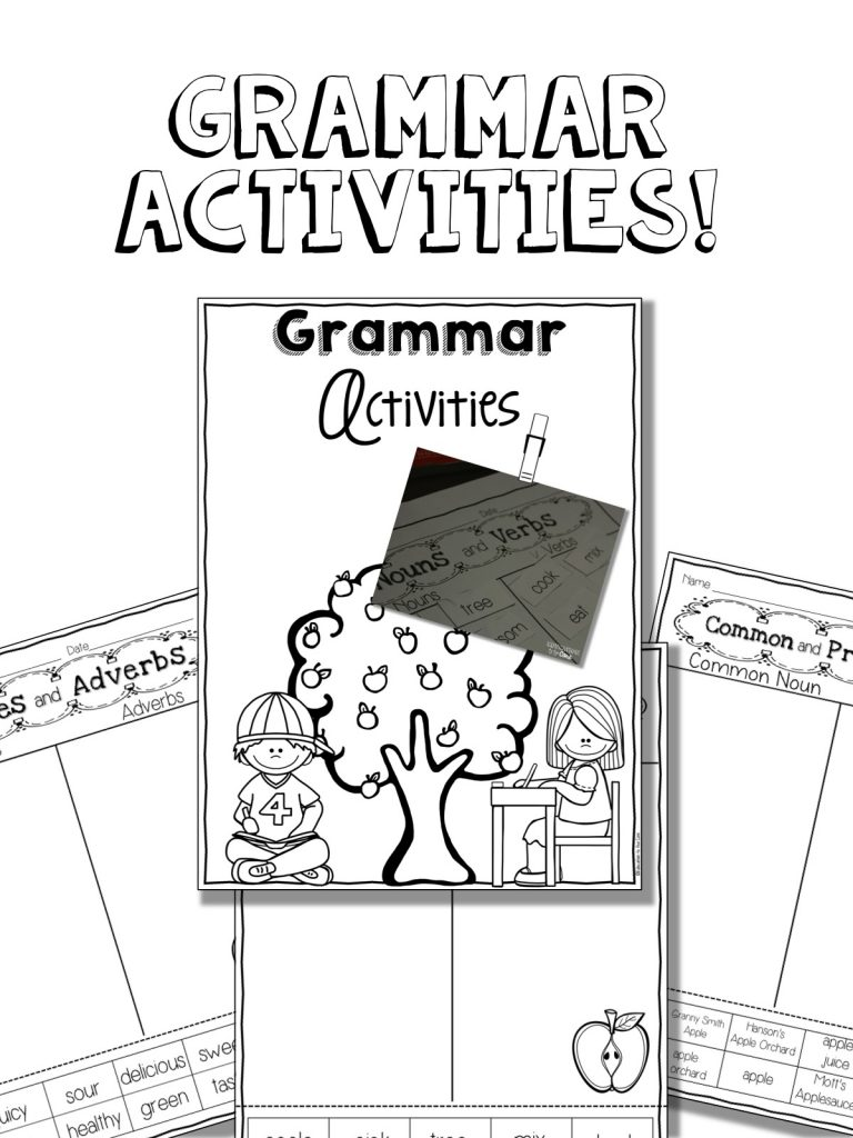 Apple Life Cycle and Grammar Integration In first grade, we are just focusing on basic grammar activities. At this point in the year, I have chosen to focus on nouns, verbs, common and proper nouns, and adjectives and adverbs.
