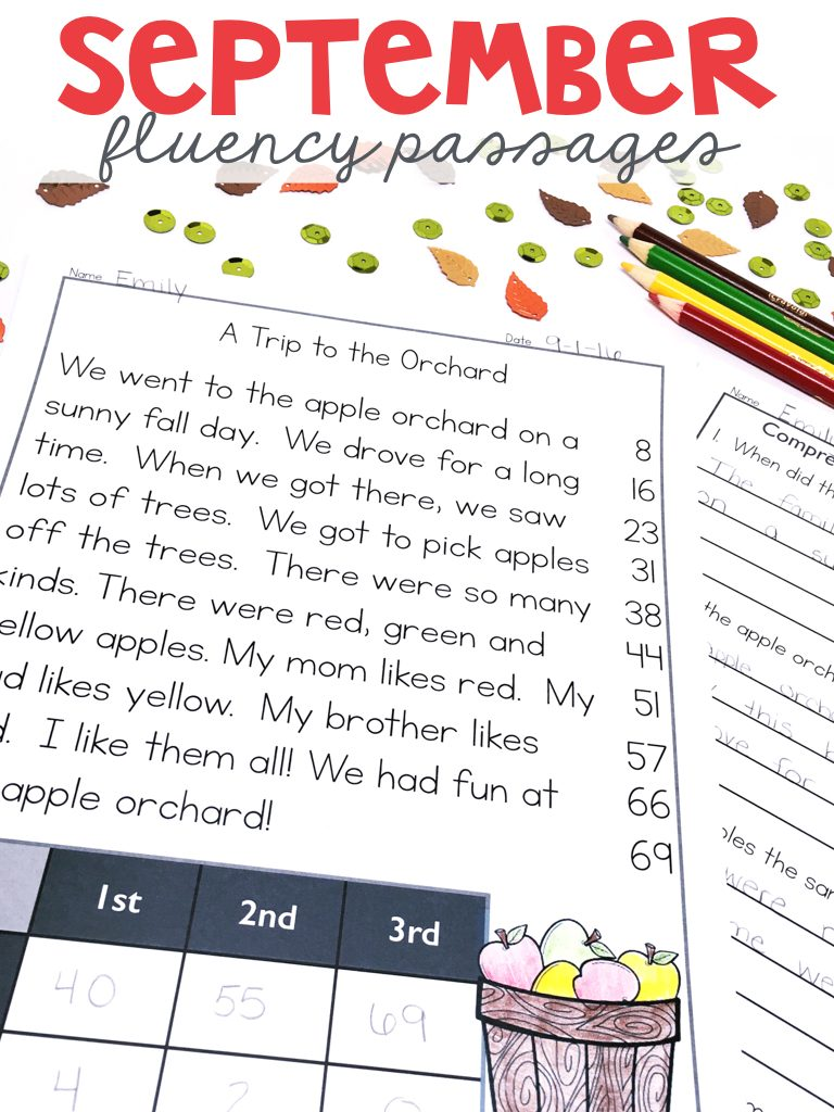Monthly Fluency Passages for September