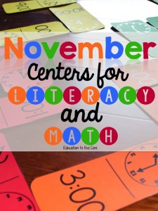 November Centers for Math and Literacy