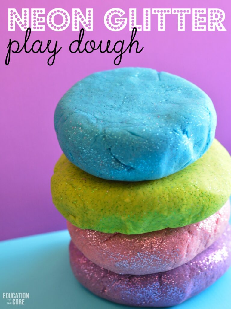 Neon Glitter Play Dough