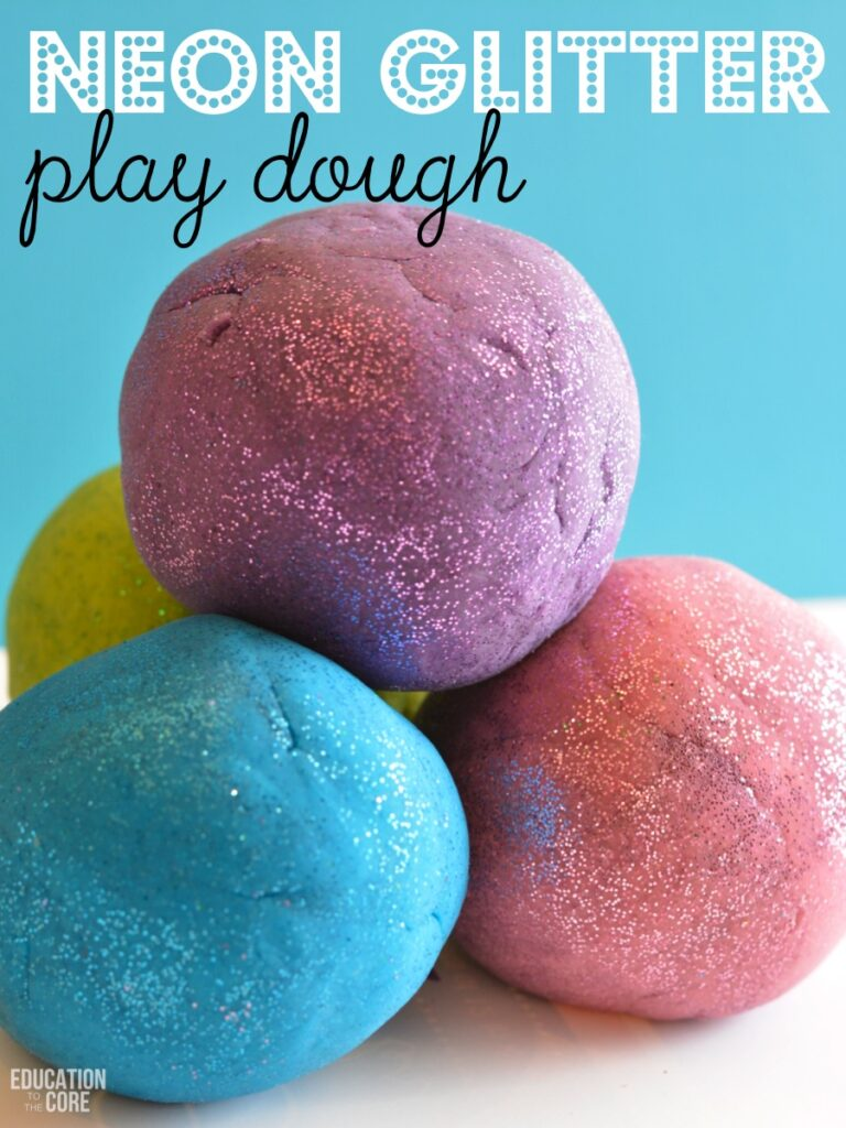 Neon Glitter Play Dough Fun