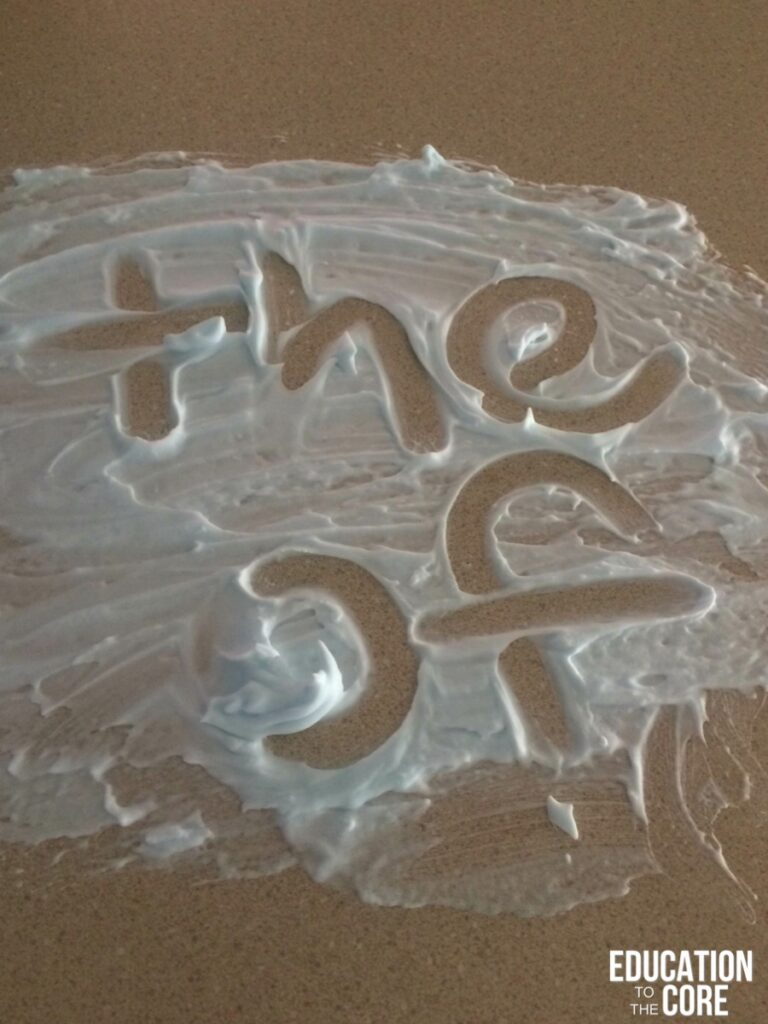 Use Shaving Cream to Practice Sight Words