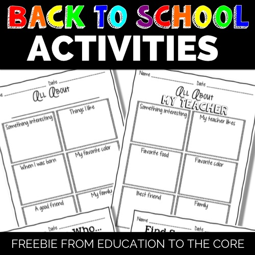 Back to School Activities FREEBIE!