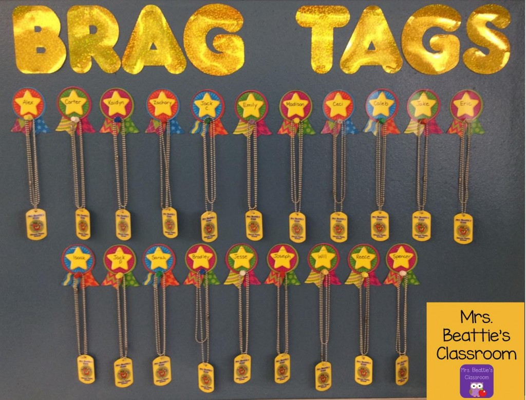 Brag Tag Bulletin Board by Erin from Mrs. Beattie's Classroom