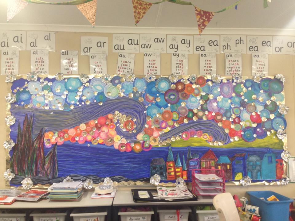 Starry Night Inspired Bulletin Board by Nyree S.