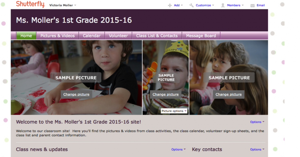 Use Shutterfly for Class Website and Parent Communication