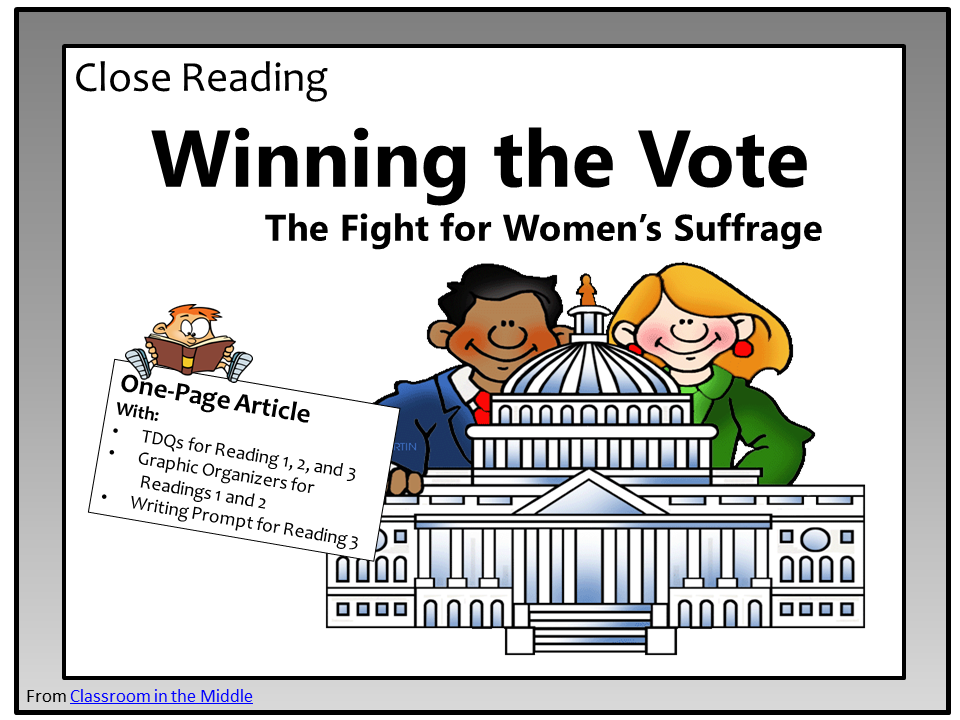 Close Reading - Women's Suffrage Freebie from Classroom in the Middle