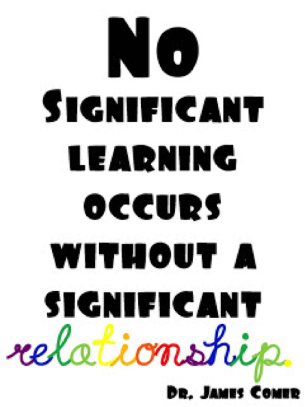 No significant learning occurs without a significant relationship.