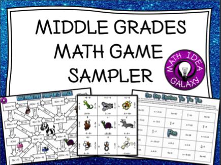 FREE Middle Grades Math Game Sampler