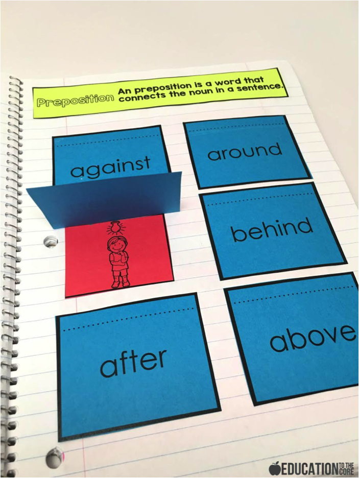 Interactive Grammar Notebooks: Prepositions Interactive Notebooks