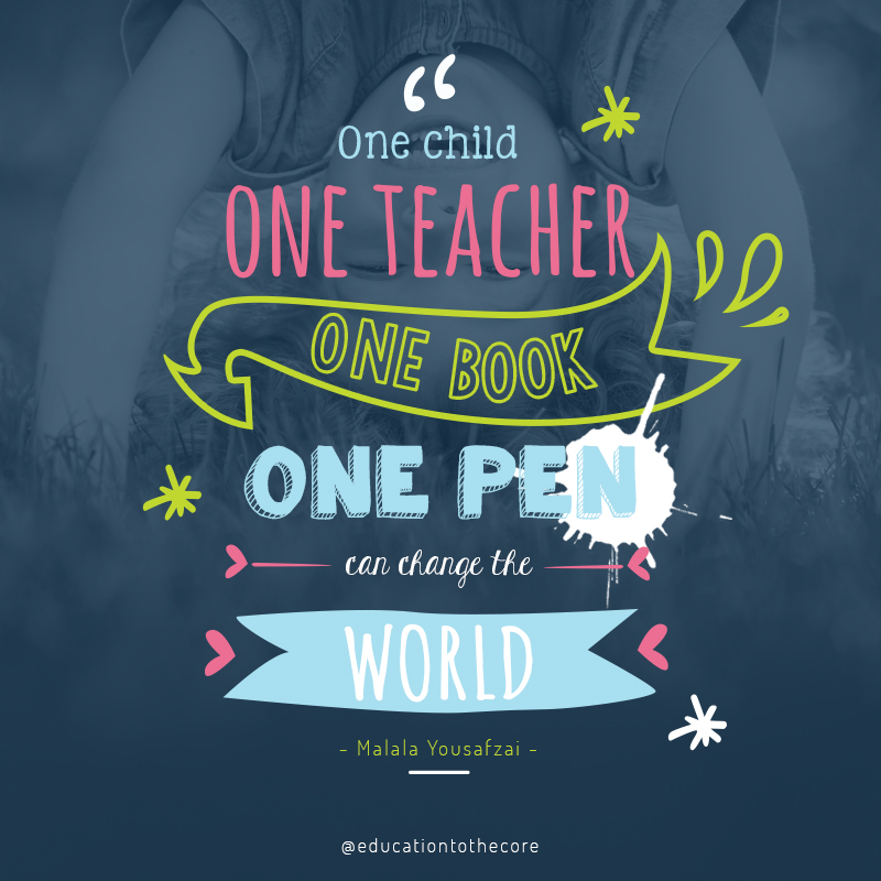 One child, one teacher, one box, one pen, can change the world.