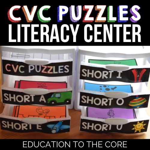 CVC Puzzles Literacy Center Phonics Activities