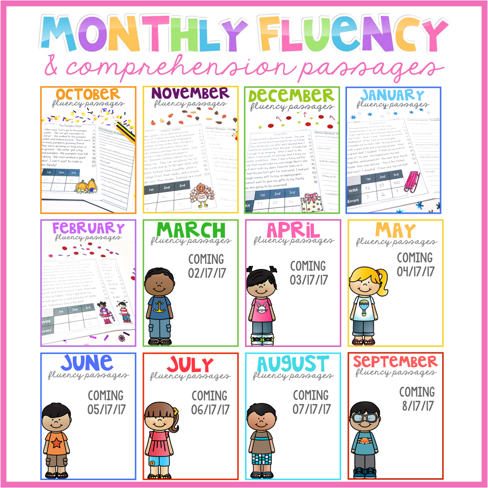 Second Grade Monthly Fluency Passages