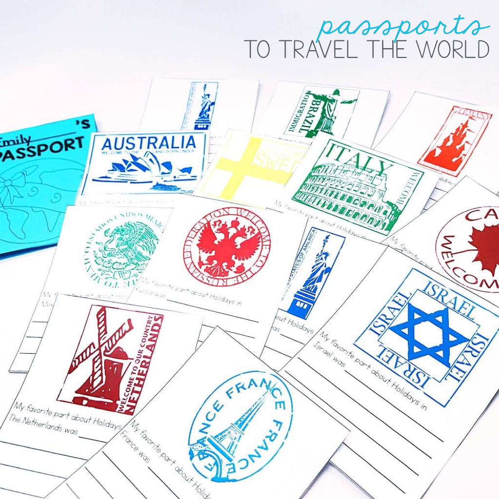 Christmas around the World Passport for students! Travel each country and add passport stamps and record and reflect on travels!