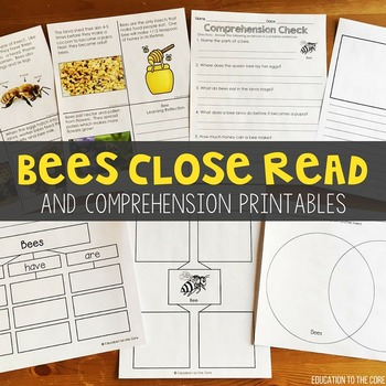 Graphic Organizers - Bees Close Reading and Comprehension Printables
