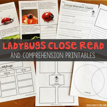 Graphic Organizers - Ladybugs Close Reading and Comprehension Printables