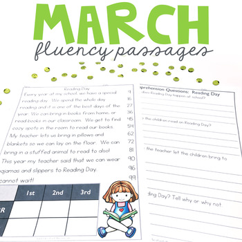 1st Grade Fluency Passages For March Education To The Core