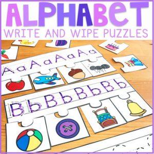 Alphabet Write and Wipe Puzzles