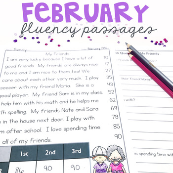 1st Grade Fluency Passages for February - Education to the Core