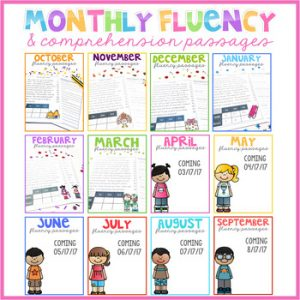 Monthly Fluency Passages, Reading Comprehension Passages