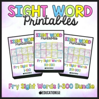 Sight Word Worksheets 1-300 Bundle