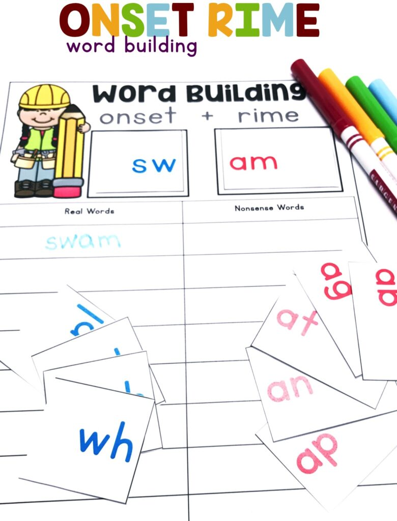 Blend and segment onsets and rimes of single-syllable spoken words using these onset-rime cards.  Students will write whether the word is a real or nonsense word! The accountability sheet includes a space to write all the real words that were built during the activity.