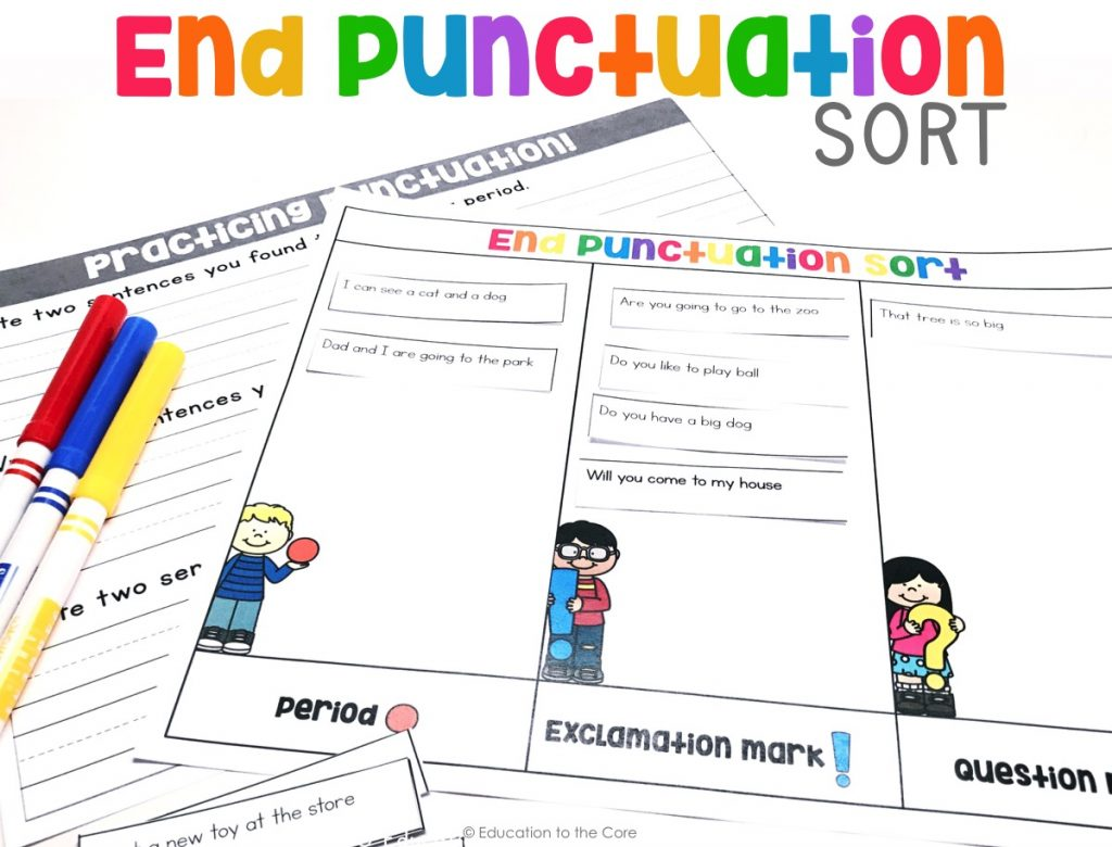 Students will read the sentences, and place each sentence in the correct section.  They can then pick two sentences for each punctuation mark to write on their accountability sheet.