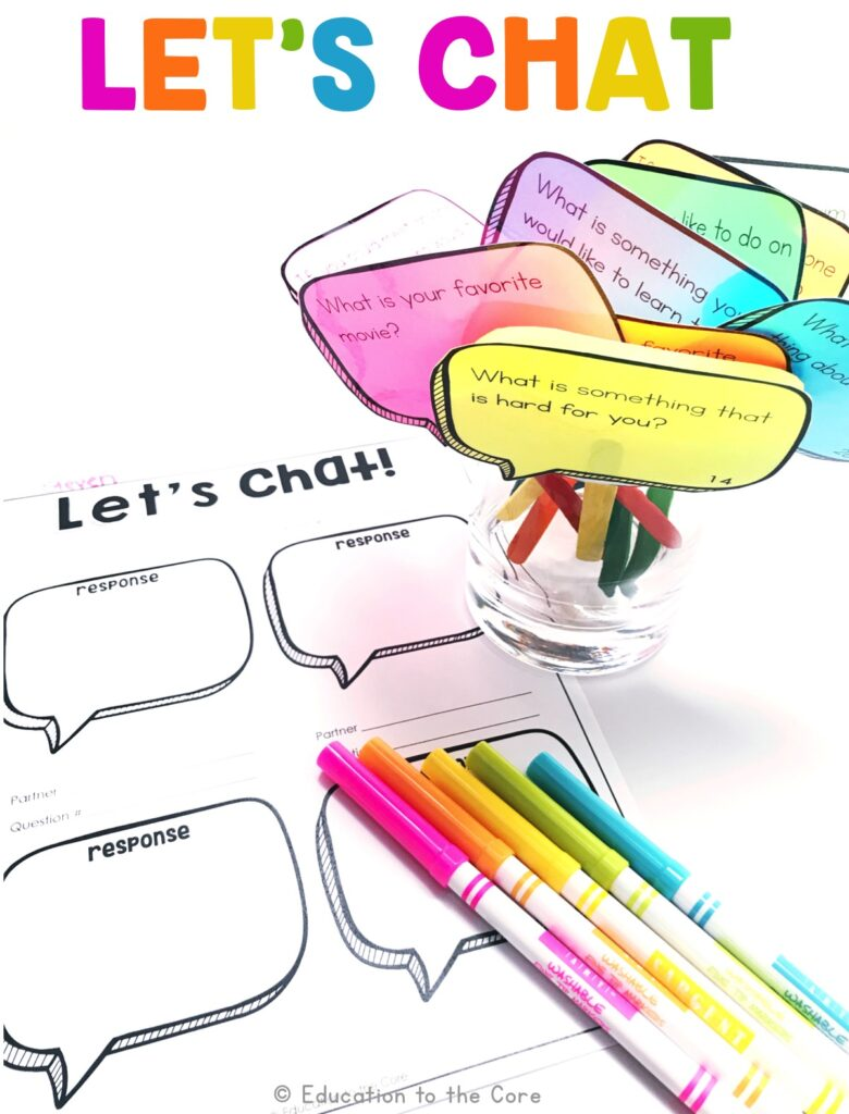 In this center, students will build on others' talk in conversations by asking questions and responding to the questions and comments of others.  They will then write what their partner said in the conversation bubbles on the accountability sheet.