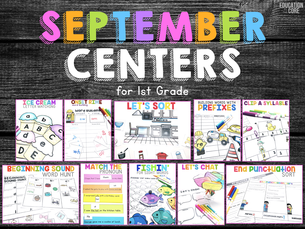 September Centers for First Grade