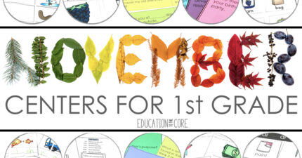 November Centers for First Grade