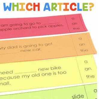 Students will choose the correct article for each sentence.