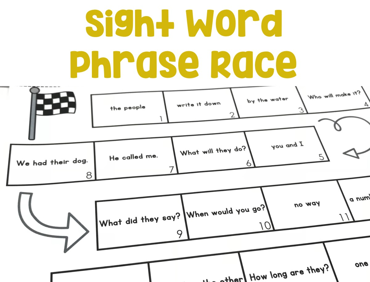 Students will know and read grade-appropriate irregularly spelled words and phrases quickly using the sight word phrase race mat.