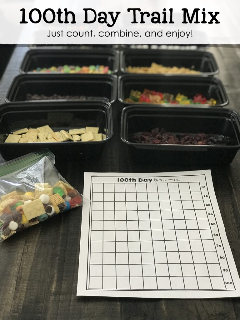 100th Day Trail Mix and Templates