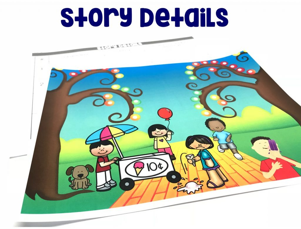 Use illustrations and details in a story to describe its characters, setting, or events.