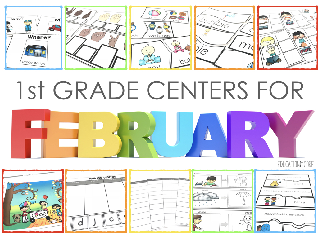 You will find a variety of phonics, language, vocabulary, and listening & speaking activities with these February centers.  We provided a great review of essential kindergarten skills, a solid start to first grade skills, and a preview to second grade skills.  These centers will be beneficial to any first grade classroom!