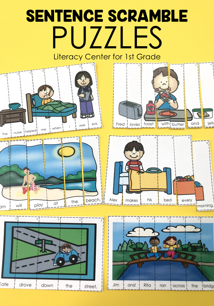Students will produce sentences by rearranging the picture puzzles.