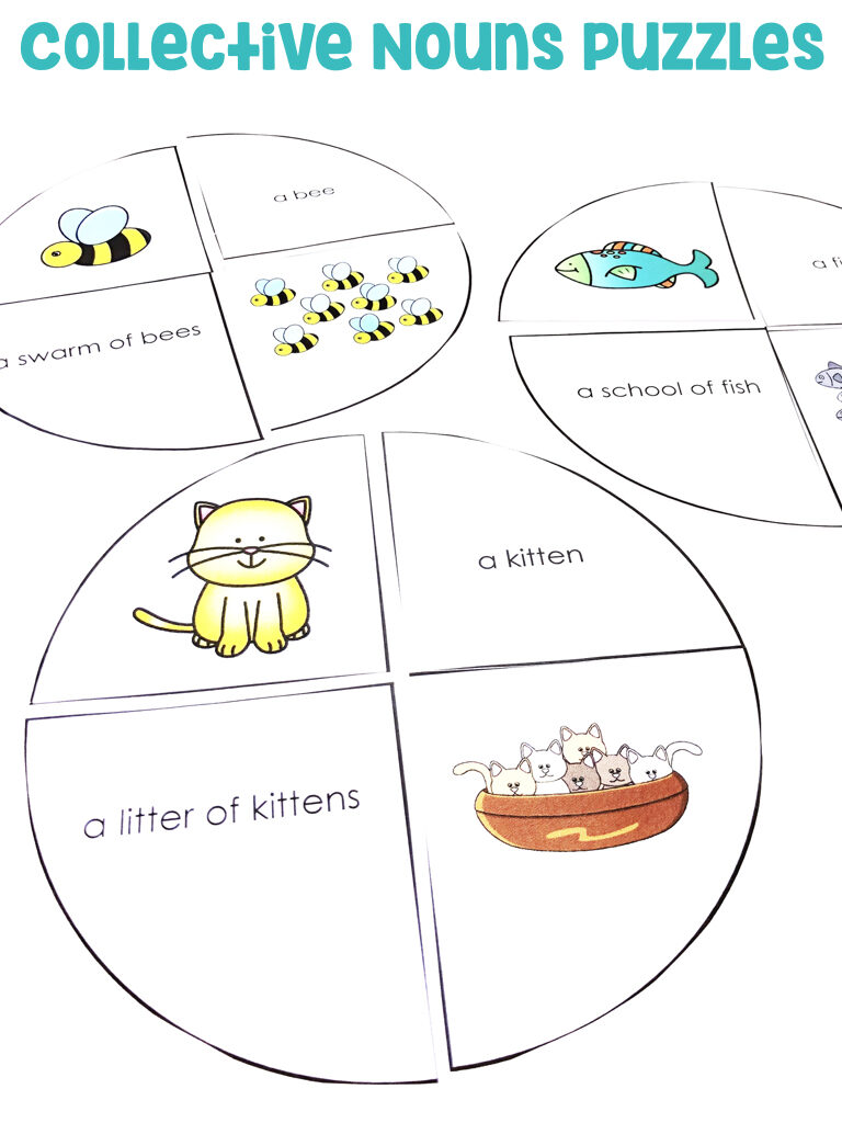 Collective Nouns Puzzles: Students will be putting together puzzles that include nouns and collective nouns.  April's Collective Nouns Puzzles include animals.