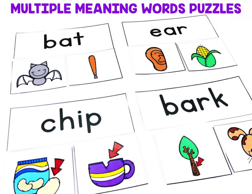 Students will be matching the multiple meaning words by completing the puzzles.