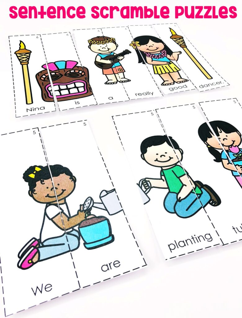 Students will produce sentences by rearranging the picture/sentence puzzles.
