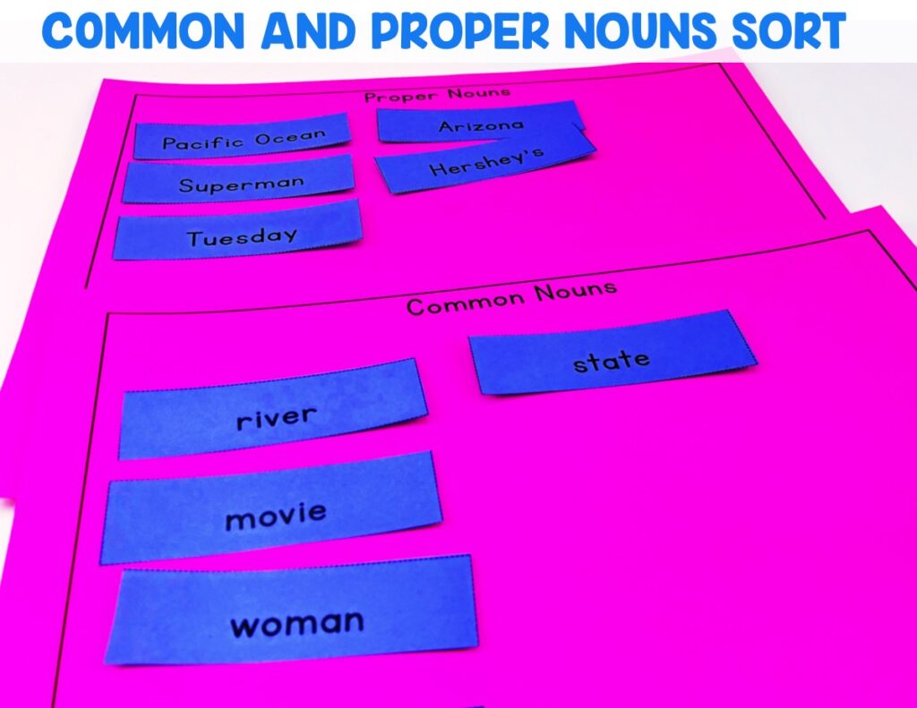 Students will be sorting proper and common nouns using the mats provided.