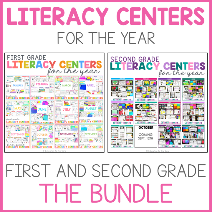 1st and 2nd Grade Literacy Centers for the Year Bundle