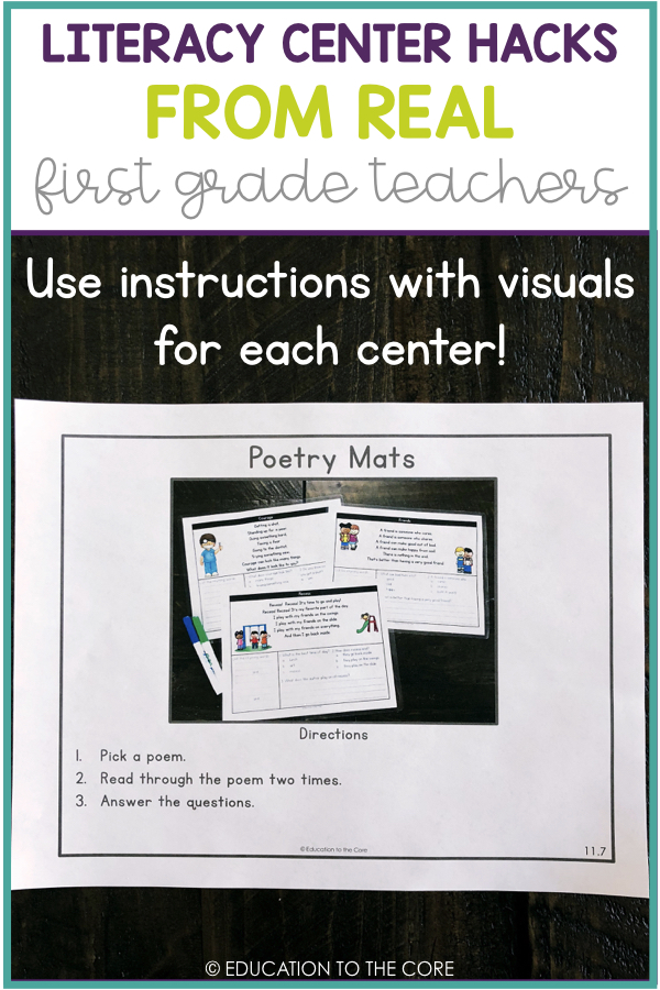 Literacy Center Hack: Use instructions with visuals for each center