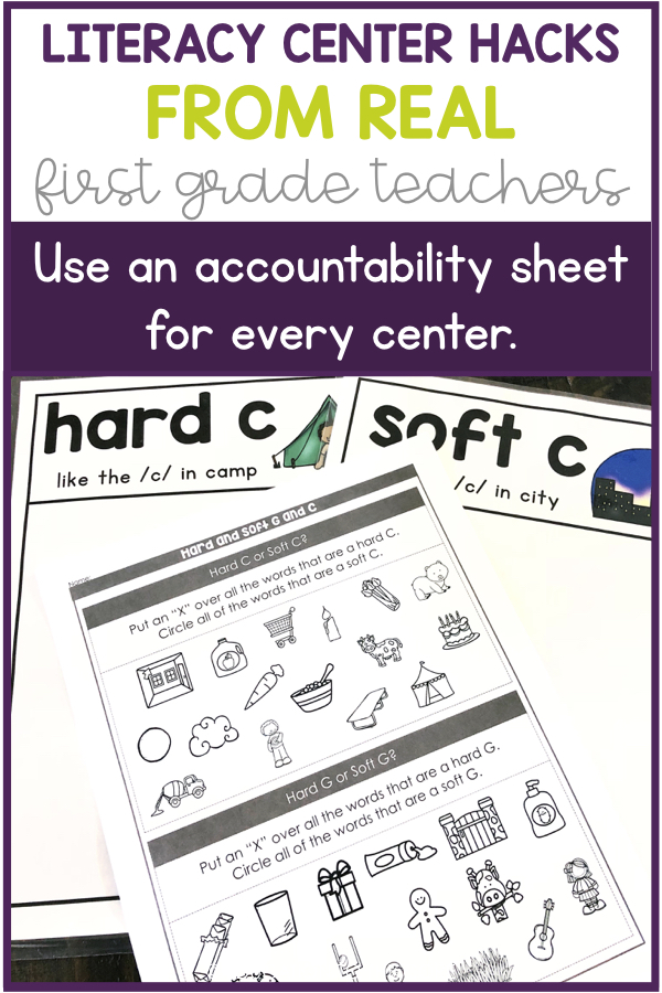 Literacy Center Hack: Use an accountability sheet for every center