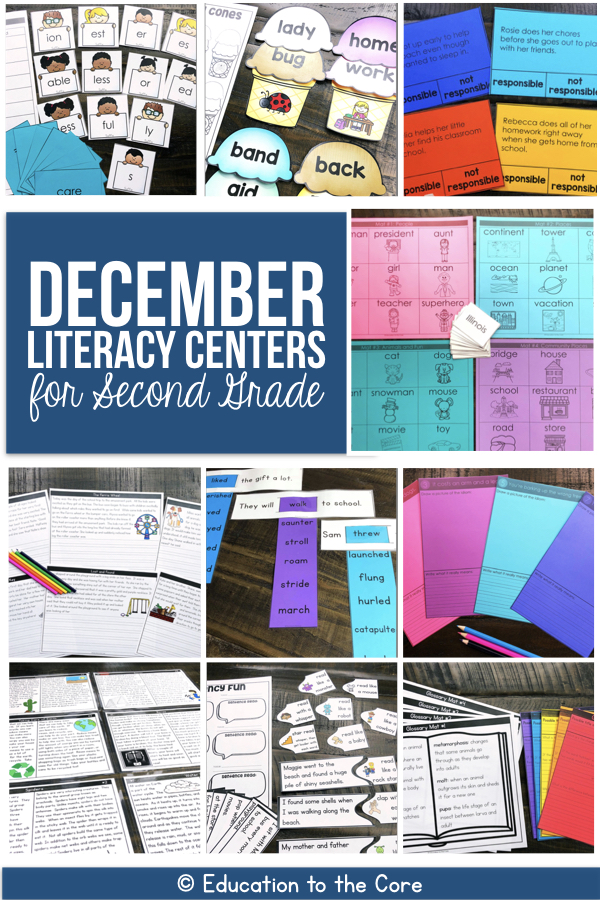 December Literacy Centers for 2nd Grade