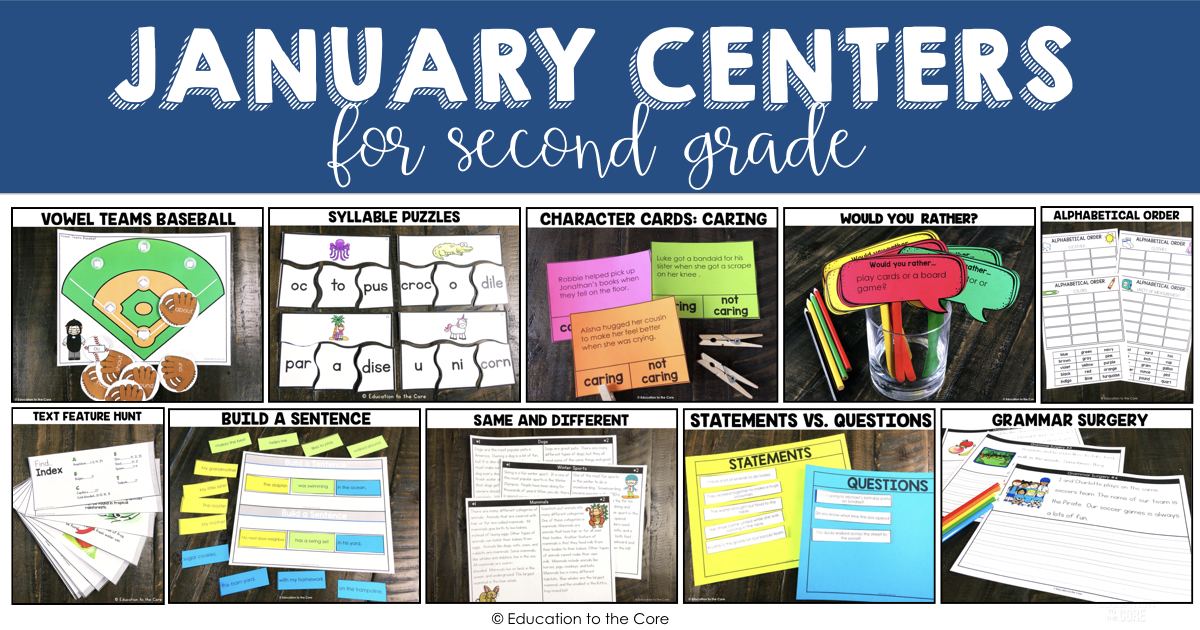 2nd Grade Literacy Centers for January | Education to the Core