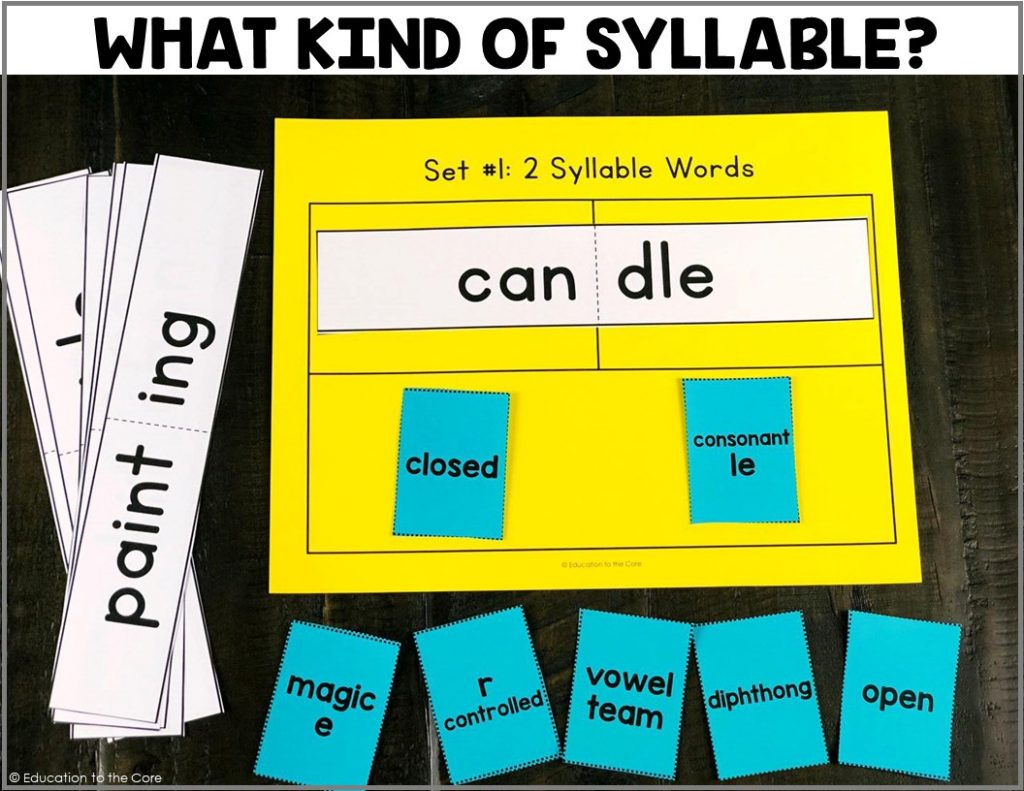 Students will be looking at 2 and 3 syllabic words and determining the types of syllables in each. This center includes: 60 word cards, 3 mats, and 1 chart