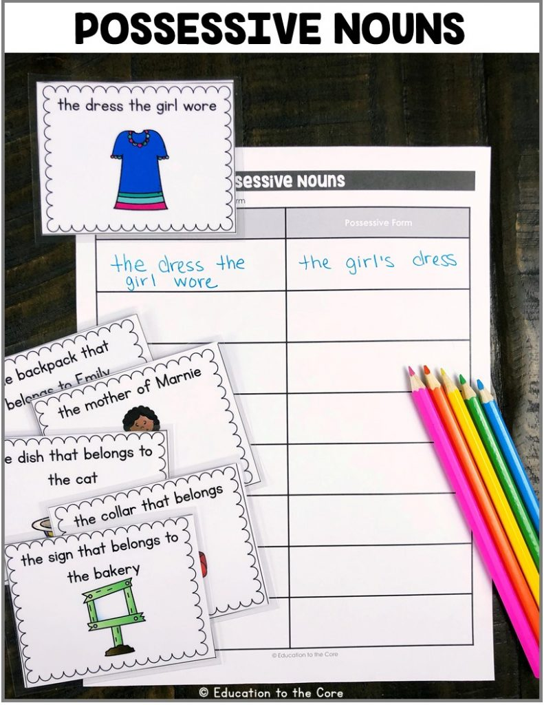 Possessive Nouns: This center includes task cards that students will use to write possessive nouns. This center includes: 48 double-sided cards